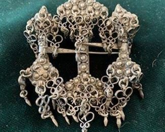 $75 Antique Sterling Norwegian wedding filigree brooch 3 x 3 1/2''