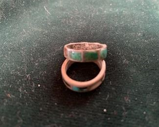 $40 Vintage Native American sterling and turquoise rings, some damage