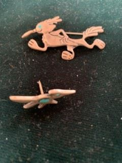 Vintage Native American 2'' roadrunner pin with turquoise  $45 (SOLD);   1 1/4'' tie tack $20 (no pin back)