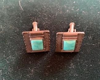 $45 Vintage Native American sterling and turquoise cufflinks
