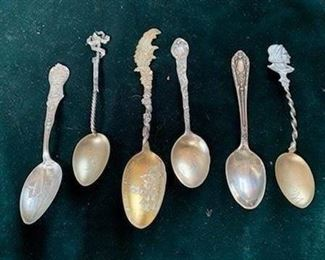 Antique sterling souvenir spoons, left to right, Oversea Railroad Key West $15, Twisted handle 1892 $12, St. Joseph Missouri high school $15, Boston $15, plain $10, Worlds Fair 1893 $15