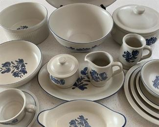 $125 Pfaltzgraff VIntage Blue and White Stoneware Set/46