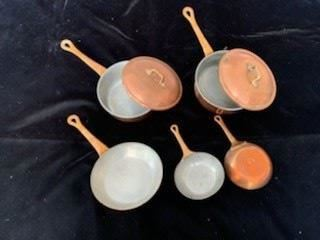 Rear (2) 6 1/4'' Sauce Pans with Lids $80/each, Front Left 6 1/4'' Saute Pan $40 (SOLD), Front Right 4 1/4'' Pair of Saute Pans $40