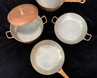 Rear 8 1/4'' Sauce Pan with Lid $100, Right 8 1/4'' Saute Pan with 2 Handles $50 (SOLD), Left 8 1/4'' Sauce Pan with Lid and 2 Handles $100, Front 8 1/4'' Fry Pan $60 (SOLD)