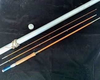 $80 Vintage Montague Sunbeam 8' 3-piece bamboo fly rod with original aluminum tube