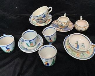 $100 Collection of Vintage Quimper Cups and Saucers, Some Damaged to Most