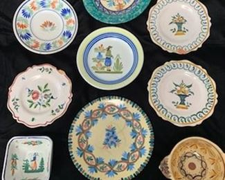 $100 Collection of Vintage Quimper Plates and Bowls, Some Damaged to Most