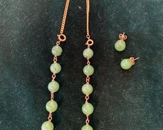 $125  14K yellow gold and jade necklace (converts to bracelet) and earrings