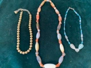 Left to Right, $5 Gold Bead Necklace, $20 Stone Necklace, $5 Glass Bead Necklace
