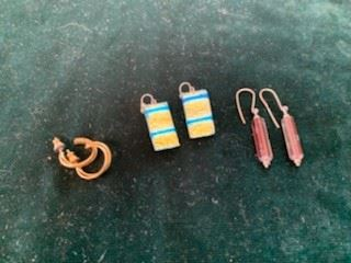 Left to Right, Gf Hoops $5, $10 Dicroic Glass Earrings, Sterling and Glass Earrings $20
