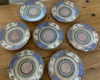 $50  Set/7 Vintage Quimper Herriott dishes, all but one with chips and cracks