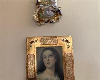 Rare Carbet Majolica Madonna Jesus Statue