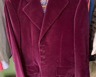 Vintage Crushed Velvet Suit Coat & Pants