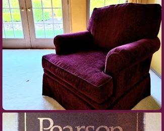Pair burgundy velvet arm chairs by Pearson Furniture Co.