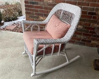 (P-1) $50 -White Wicker Rocking Chair w/ Pillows- 33inH x 30inW x 21inD- *Painted white, may need some touchup paint.  Cushions included