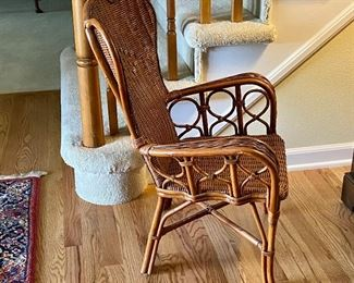 (Hall-10) $80-Side View of Child Size Wicker Arm Chair -22inW x 19inD x 30inH