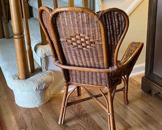 (Hall-10) $80- Back of Child Size Wicker Arm Chair -22inW x 19inD x 30inH