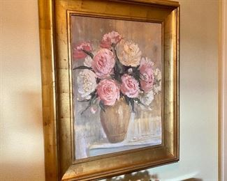 (HALL-2) $50 -Oil on canvas floral painting.  27in x 33in.  Gold frame.