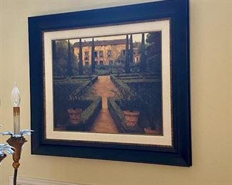 (HALL-12) $80- Large  Wall art with black frame  47in x 36in