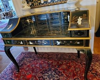 Oriental Black Lacquer Writing Desk with Mother of Pearl Inlay