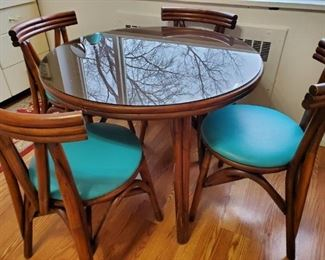 """36"""" Round Kitchen Table with 4 Chairs and Glass Top"""