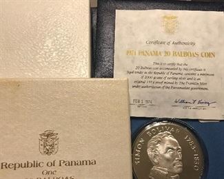 2000 grains of silver - 1974 proof  Republic of Panama                                                    20 Balboas