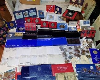 grouping of US coins, proof sets, mint sets medals and more...