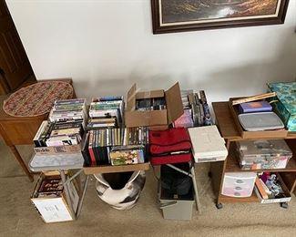 DVDs, VHS tapes, CDs, cassette tapes