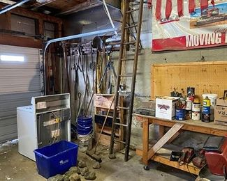 Gas stove, assortment of tools and ladders
