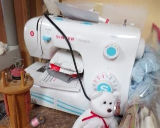 singer sewing machine, many notions & projects