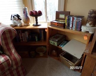pair matching bookcases, could stack