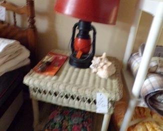 wicker table & unusual lamp