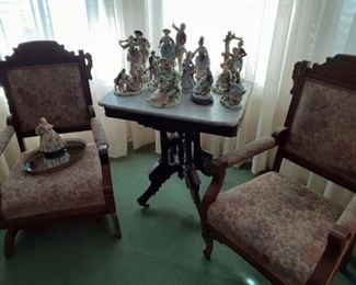 marble top table and chairs