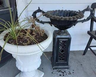 flower pot and urn on pedestal