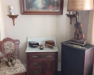 marble top stand and music