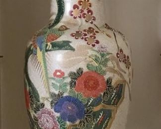 Japanese Hand Painted Vase, one of two