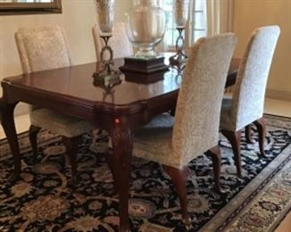 Book Matched Mahogany Dining Table and Chairs by John Widdicomb