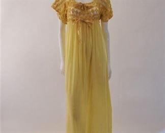 Antique gold silk gown with crochet and slippers, 1907
