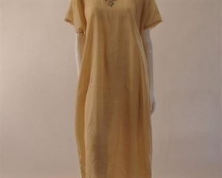 1907 gold silk nightgown with embroidery