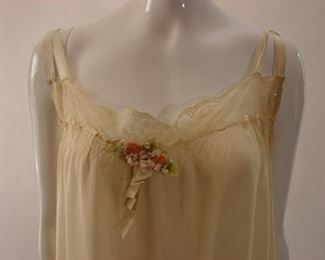 lovely 1920s drop waist silk nightgown with ribbon flowers