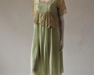 Gorgeous vintage 1920s Robe de style dress or silk gown with lace, 1920s crochet boudoir cap