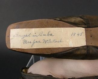 Black silk slippers from France, 1845