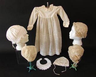 Antique caps, bonnets, baby dress