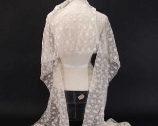 very long length of antique machine lace
