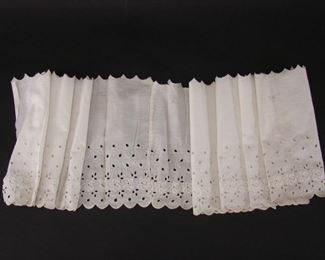 Edwardian length of deadstock openwork and embroidered flounce or dress fabric