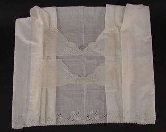 Length of deadstock openwork and embroidered flounce or dress fabric, plus matching yokes