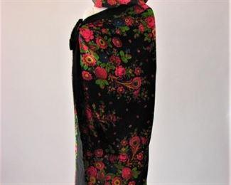 1940s oversized polychrome printed scarf with fringe, oversized polychrome snood