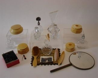 Large lot of Vintage vanity items including crystal and glass perfume bottles, hair pins, vanity tray set