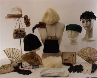 Large lot of antique hand fans, vintage hats, purses, gloves, furs, etc