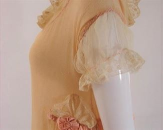Lovely 1920s crepe nightgown with silk ribbons and lace details